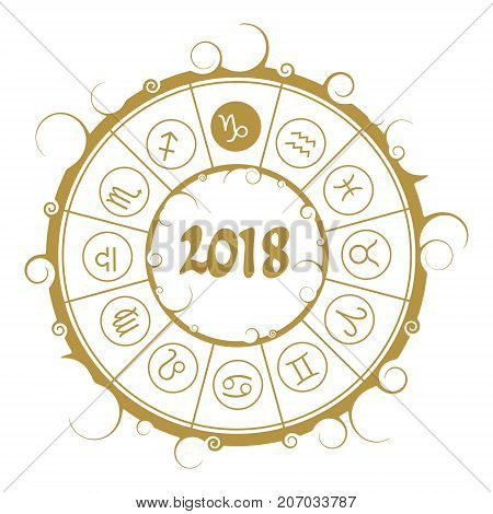 Astrological symbols in the circle. Capricorn sign. New Year and Christmas celebration card template. Zodiac circle with 2018 new year number.