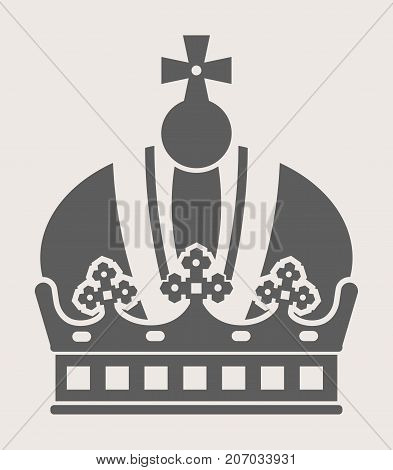King crown with cross on top grey silhouette isolated cartoon flat vector illustration on white background. Luxurious rich headdress for royalty ornate with expensive elements monochrome picture.
