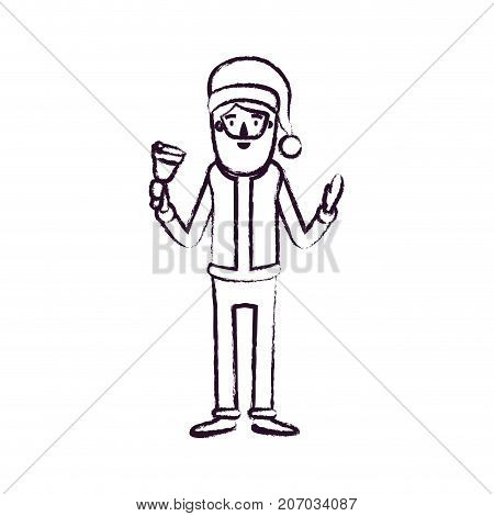 santa claus caricature full body holding a bell with hat and costume blurred silhouette on white background vector illustration