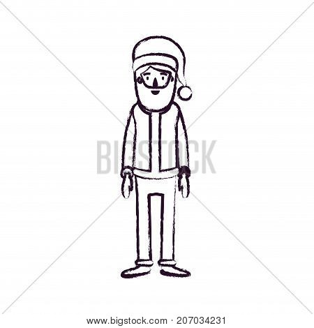 santa claus caricature full body with hat and costume blurred silhouette on white background vector illustration