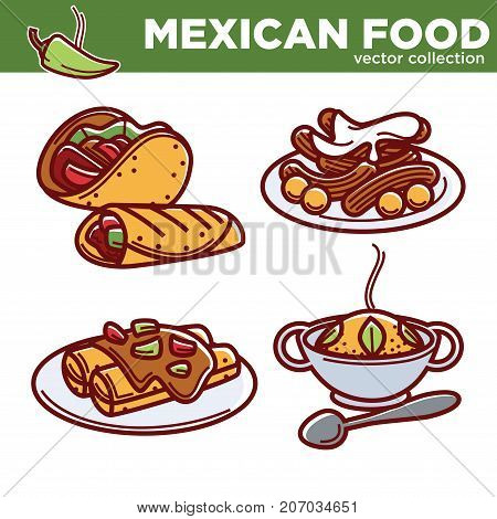 Mexican food vector collection of tasty spicy dishes. Burrito and taco in tortilla, sweet dessert, enchiladas under gravy and hot rice with greenery isolated illustrations on white background.