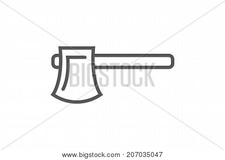 Carpenters hatchet icon in linear style. Joinery workshop product and equipment, sawmill element, woodwork tool vector illustration.