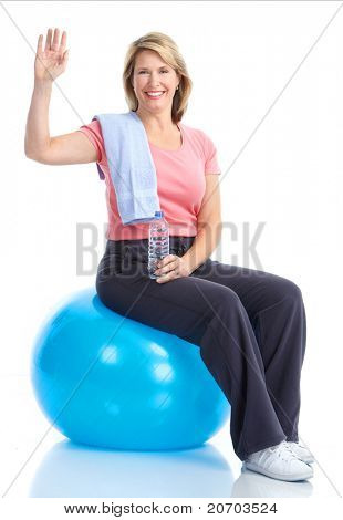 Senior healthy fitness woman. Over white background