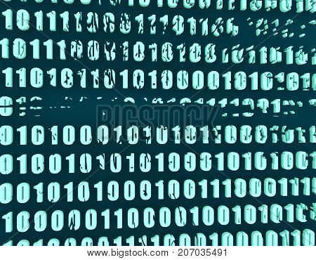 Binary code background with digits on screen. Algorithm binary, data code, decryption and encoding, row matrix. 3d rendering
