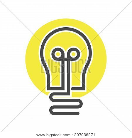 Electrical lightbulb icon in thin line style. Electrical equipment, simple lamp pictogram isolated on white background vector illustration.