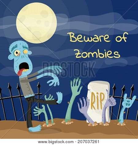 Beware of zombies poster with undead monster on graveyard. Halloween holiday party banner, festive horror event. Walking dead character, zombie hands sticking out from ground vector illustration
