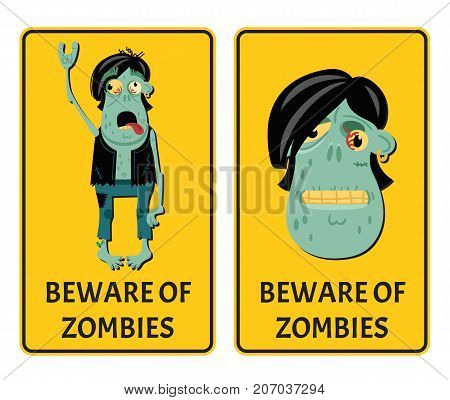 Beware of zombies labels with punk rocker monster. Halloween party attribute with funny undead man, festive horror event stickers. Symbol collection with cute walking dead vector illustration.