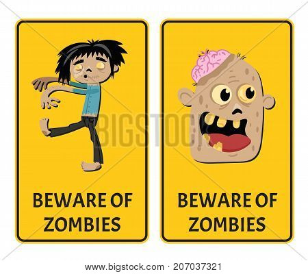 Beware of zombies stickers with comic undead man. Halloween holiday attribute with funny monster, festive horror event labels. Symbol collection with cute walking dead character vector illustration.