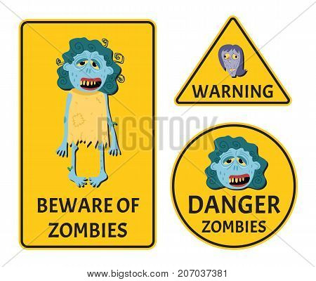 Beware of zombies stickers set for halloween party. Holiday attribute with happy undead, festive horror event labels. Symbol collection with cute female monster character vector illustration.
