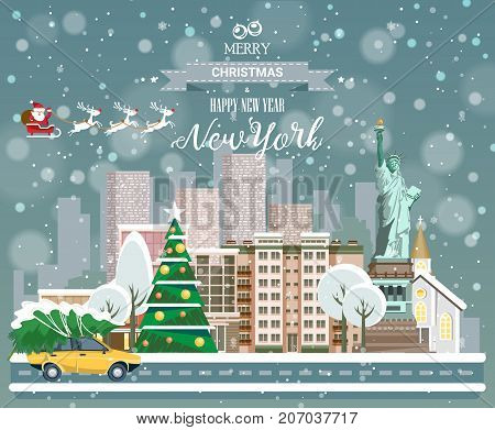 Christmas greeting card in flat modern style. Merry Christmas and Happy New Year, New York