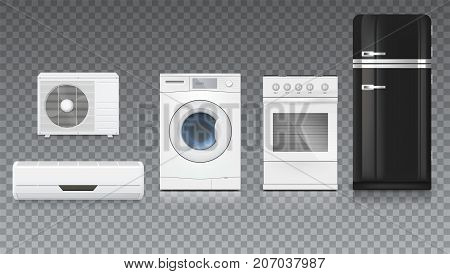 Air conditioning, washing machine, gas hob and black fridge, isolated 3D illustration with realistic shadows and reflections. Set icons of household appliances on a trasparent background.