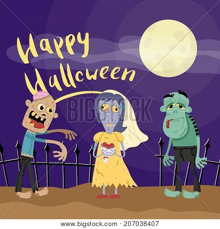 Happy Halloween poster with zombies in cemetery at full moon. Holiday advertising with funny undead, festive horror event banner. Cute walking dead characters in graveyard vector illustration