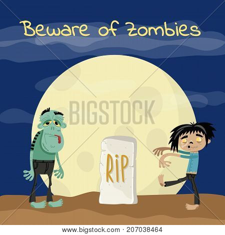 Beware of zombies poster with undead monsters near rip gravestone. Halloween holiday party banner, festive horror event. Walking dead man on cemetery at full moon vector illustration