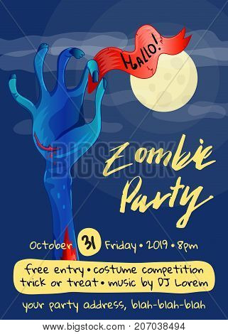 Zombie party poster with zombie hand in graveyard at full moon. Walking dead in cemetery vector illustration. Halloween advertising with funny undead, festive horror event invitation template.