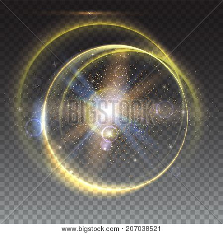 Circular light rays and lens flare backdrop, Abstract bright background isolated on trasparent. Glow light effect. Star burst with sparkles. Dynamic digital, technology backdrop
