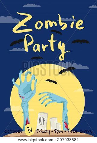 Zombie party poster with zombies hands in graveyard at full moon. Walking dead in cemetery vector illustration. Halloween advertising with funny undead, festive horror event banner template.