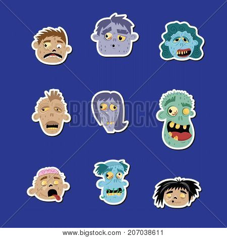 Funny zombie avatar icon set. Halloween holiday undead sign, horror monster heads collection, zombie party labels, cute walking dead man isolated vector illustration in cartoon style