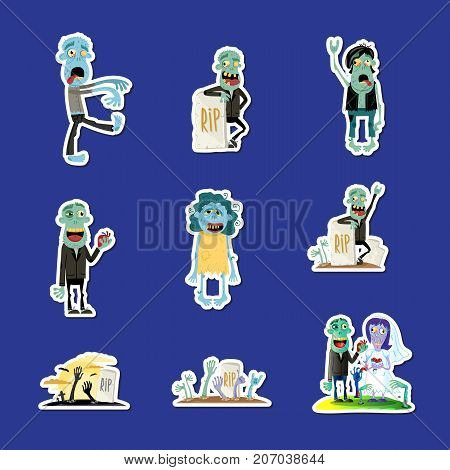 Cute zombie isolated sticker collection. Halloween holiday sign, horror monster labels set, zombie party comic elements, funny walking dead isolated vector illustration in cartoon style