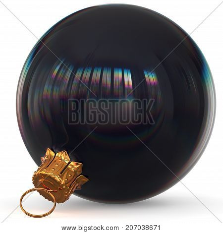 Christmas ball decoration black bauble closeup Happy New Year's Eve hanging adornment polished traditional Merry Xmas wintertime ornament sparkling. 3d rendering illustration