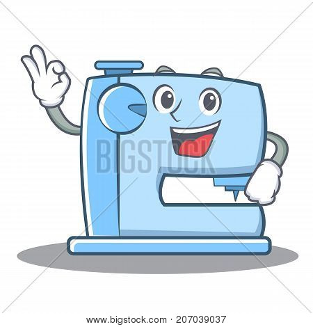 Okay sewing machine emoticon character vector illustration