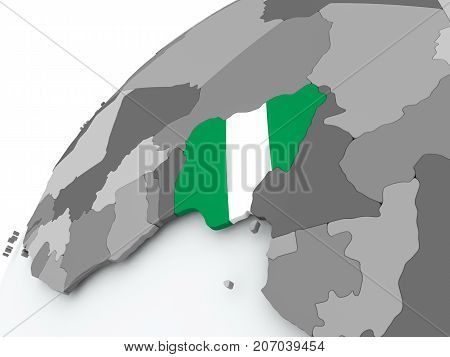 Flag Of Nigeria On Grey Globe