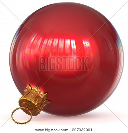 Christmas ball decoration bauble red New Year's Eve hanging adornment traditional Happy Merry Xmas wintertime ornament polished closeup. 3d rendering illustration