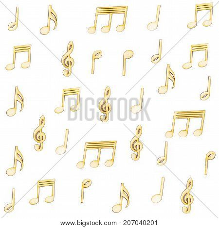 Wooden Music notes isolated on white background.
