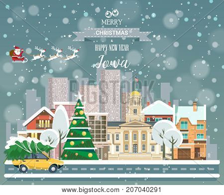 Christmas greeting card in flat modern style. Merry Christmas and Happy New Year, Iowa