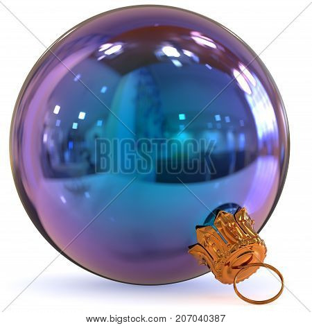 Christmas ball blue decoration bauble Happy New Year's Eve hanging adornment traditional Merry Xmas wintertime ornament polished closeup. 3d rendering illustration