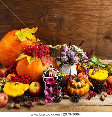 Fall Arrangement With Pumpkins And Decorated Birdcage, Copy Space