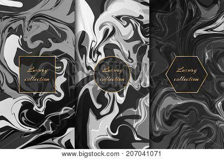 Collection of backgrounds with a black and white marble pattern for the design of luxury products.
