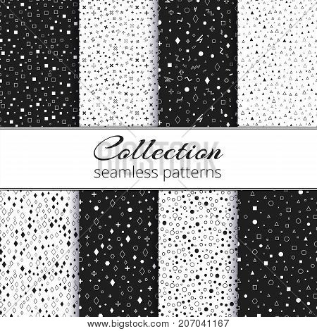 Collection of elegant backgrounds with a chaotic monochrome pattern and gold elements for the design of cosmetics packaging, chocolate.
