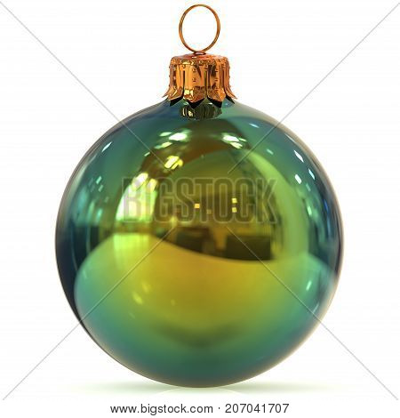 Christmas ball green decoration closeup New Year's Eve bauble hanging adornment traditional Happy Merry Xmas wintertime ornament polished. 3d rendering illustration
