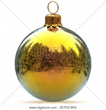 Christmas ball decoration golden polished bauble Happy New Year's Eve hanging adornment traditional Merry Xmas wintertime ornament sparkling closeup. 3d rendering illustration