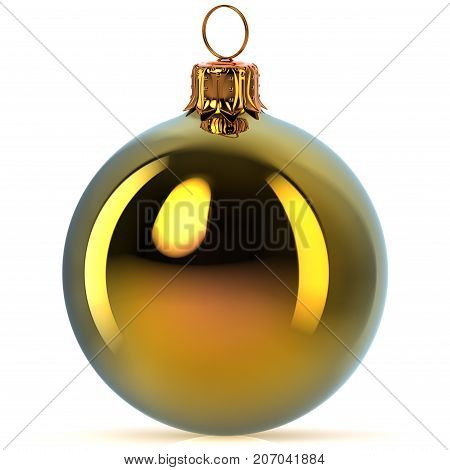 Golden Christmas ball decoration bauble Happy New Year's Eve hanging adornment traditional Merry Xmas wintertime ornament polished closeup. 3d rendering illustration