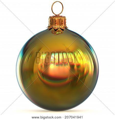 Christmas ball golden decoration closeup New Year's Eve bauble hanging adornment traditional Happy Merry Xmas wintertime ornament polished. 3d rendering illustration