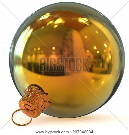 Christmas ball decoration golden New Year's Eve bauble hanging adornment traditional Happy Merry Xmas wintertime ornament polished closeup. 3d rendering illustration