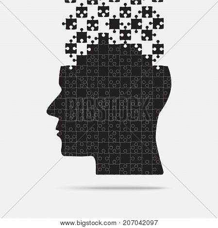 Black Puzzle Piece Silhouette Head in a Grey Square - Vector Illustration. Jigsaw Puzzle Blank Template. Vector Object.
