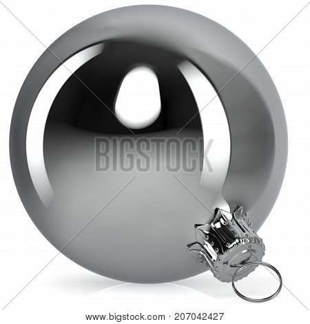 Chrome Christmas ball decoration white New Year's Eve bauble hanging adornment traditional Happy Merry Xmas wintertime ornament silver polished closeup. 3d rendering illustration