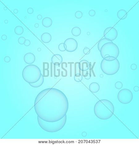 Fresh blue background with water bubbles illustration