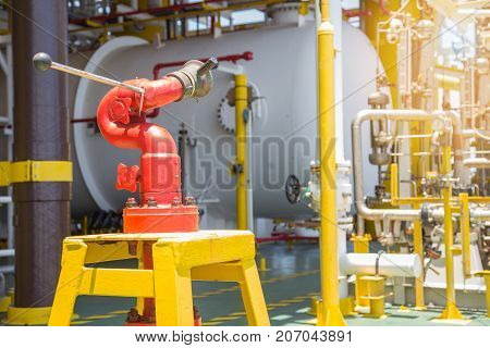 Fire hydrant station at oil and gas central processing platform located at risk area.