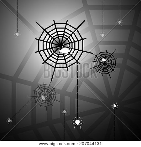 Created halloween night with spiders and webs stock vector