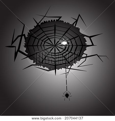 Created halloween night spider and web stock vector