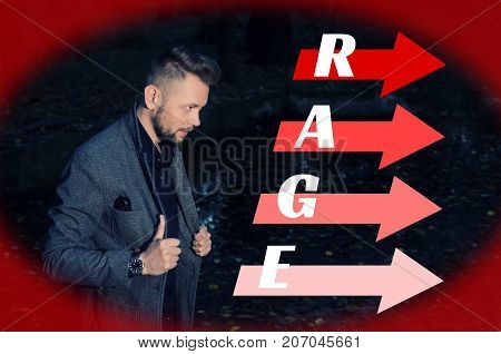 stern bearded man in an aggressive pose with his hands on lapels of his jacket next to the arrows on which is written the word rage