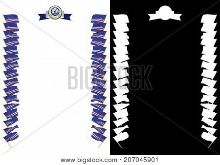 Frame And Border With Flag And Coat Of Arms Cabo Verde. 3D Illustration