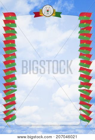 Frame And Border With Flag And Coat Of Arms Burkina Faso. 3D Illustration
