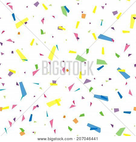 Festival seamless pattern with confetti. Repeating background, vector illustration