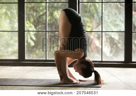 Young attractive woman practicing yoga, standing forward bend, head to knees exercise, uttanasana pose, working out wearing sportswear, black shorts and top, indoor full length, studio background
