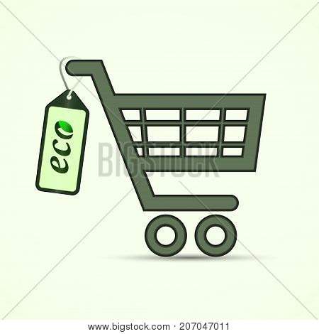 Shopping pushcart sign with eco label. Supermarket cart. Eco concept. Vector isolated object.