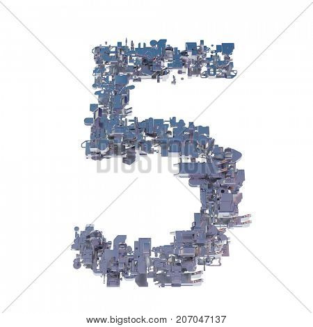 number 5, five, collected from metal parts, 3d illustration